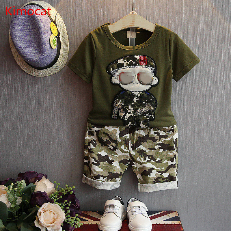 Summer Children Boy Clothes 2017 new Sets Kids 2pcs Short Sleeves T-Shirt Toddler Suits Camouflage Shorts Child Clothing Suits family fashion summer tops 2015 clothers short sleeve t shirt stripe navy style shirt clothes for mother dad and children