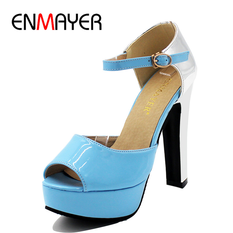 ENMAYER Ankle Strap Shoes Woman High Heels Peep Toe Summer Sandals Plus Size 34-43 Blue Pink Beige Sandals Pumps Platform Shoes cdts 35 45 46 summer zapatos mujer peep toe sandals 15cm thin high heels flowers crystal platform sexy woman shoes wedding pumps