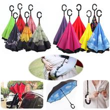 12 Colors C-Hook Hands Windproof Reverse Folding Double Layer Inverted Umbrella Self Stand Inside Out Rain Protection Umbrella