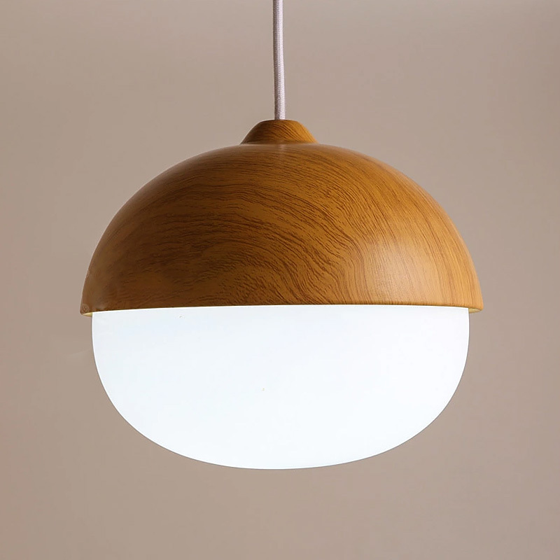 Glass Modern Pendant Light Fixtures With White Ring Frosted Lamp Shades Wood Material Bar Kitchen Indoor In Lights From