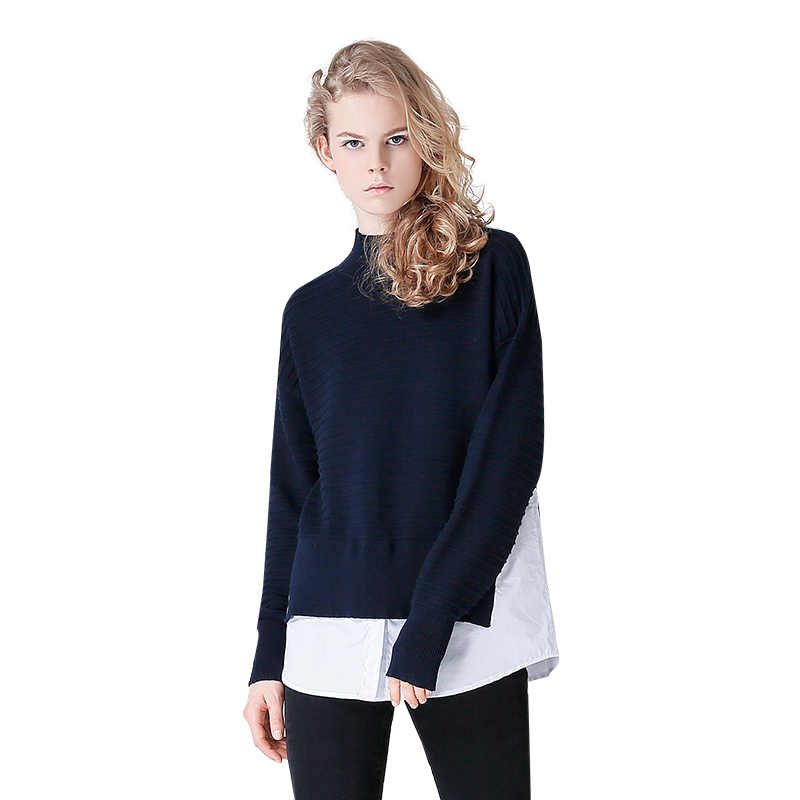 Toyouth Wanita Kasual Leher V Lengan Panjang Tipis Patchwork Longgar Sweater 2019 Musim Semi Baru Feminino Pullovers Sweater Rajut
