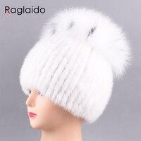 Raglaido Brand Luxury Hats Women Mink Knittd Real Fur Cap Hand Sewing Winter Beanies Cap Natural