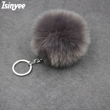 ISINYEE 2017 fluffy pom pom keychain ring for women bags car Fashion faux rabbit fur pompom key chains jewelry accessories