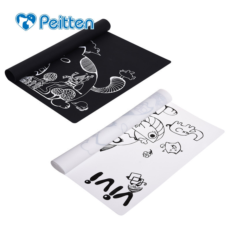 1 pcs de Alimentação Animal de Estimação Mat Silicone Gato Dos Desenhos Animados Imprimir À Prova D' Água Não-slip Esteiras Placemat Prato Tigela de Comida Do Cão de Alimentação para Cães Gatos