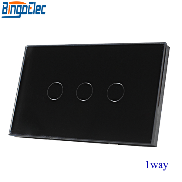 Good Quality,AU/EU Standard Bingoelec Black Crystal Toughened Glass Panel 3gang 1way Touch Switch,Wall Light Switch,110-220V smart home us au wall touch switch white crystal glass panel 1 gang 1 way power light wall touch switch used for led waterproof