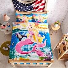 Kids The little Mermaid girls cartoon bedding set twin size bedspreads duvet cover bed in a bag sheets designer bedroom linen