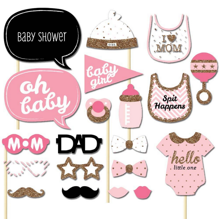 HOT 25pcs or20pcs /set Girl Photo Booth Props Baby Shower Pink Baptism Birthday Decoration DIY Party PhotoBooth Supplies-B