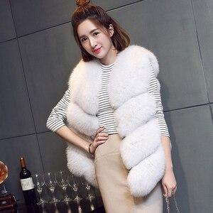 Image 3 - ZADORIN Gilet en fausse Fourrure de renard pour femmes, luxe, grande taille, manteau en fausse Fourrure, court, automne hiver