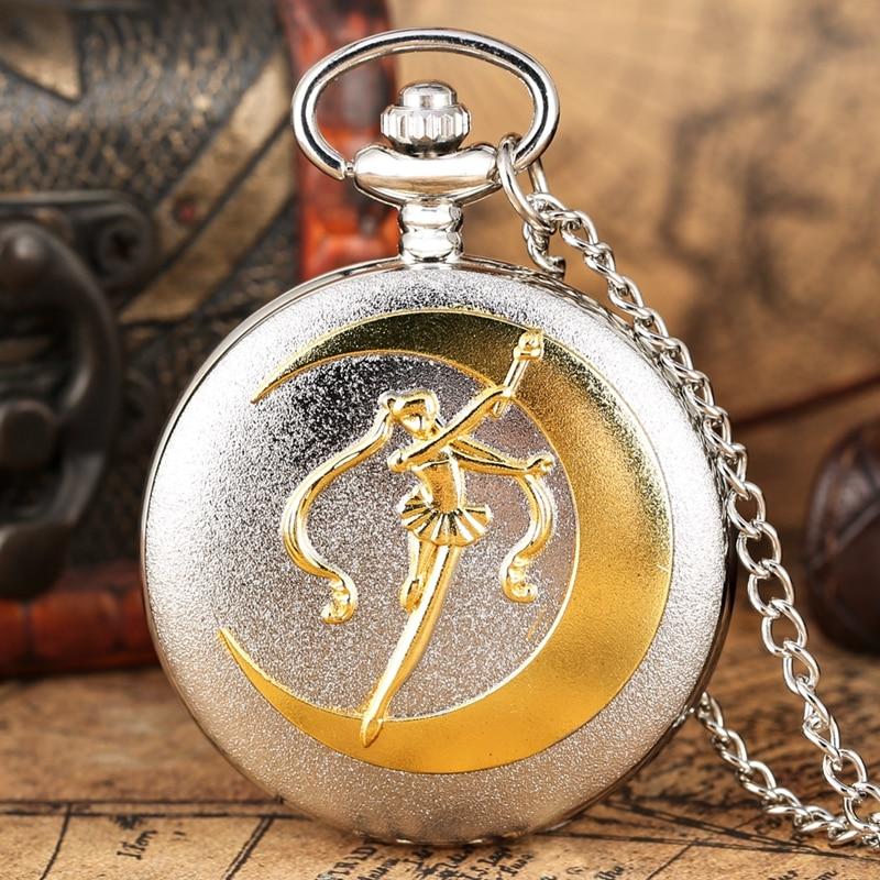 New Fashion Silver Grand Quartz Pocket Watch Luxury Golden Sailor Moon Necklace Pendant Chain Floral Rattan Pocket Watch Gifts