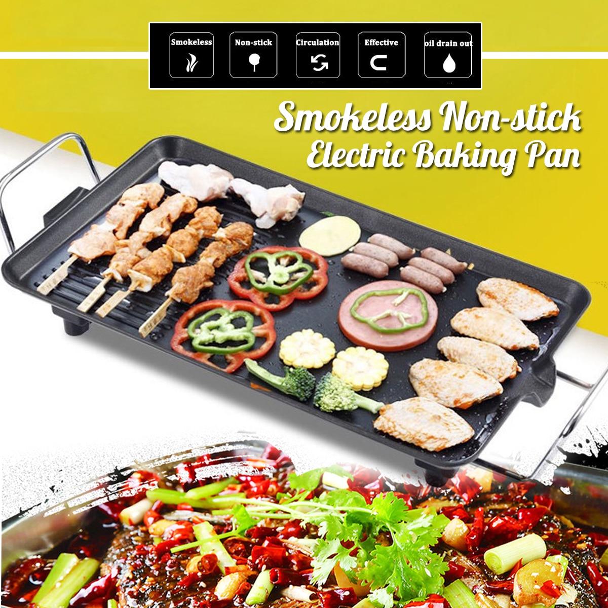 Cuisine électrique barbecue Grill 220 V 1500 W EU Teppanyaki Surface antiadhésive plaque chauffante température réglable incroyablement polyvalent
