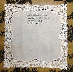 Fashion Women's Handkerchiefs 14PCS/Lot 12x12White 100% Cotton Wedding Handkerchief Embroidered Lace Edge Hankies For Occasions