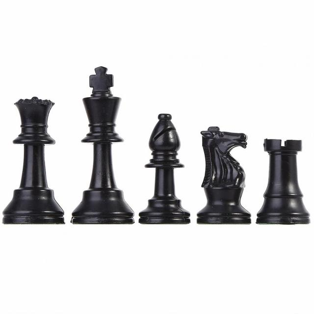32 pièces d'échecs médiévales noir et blanc complet 64/77mm plastique  2