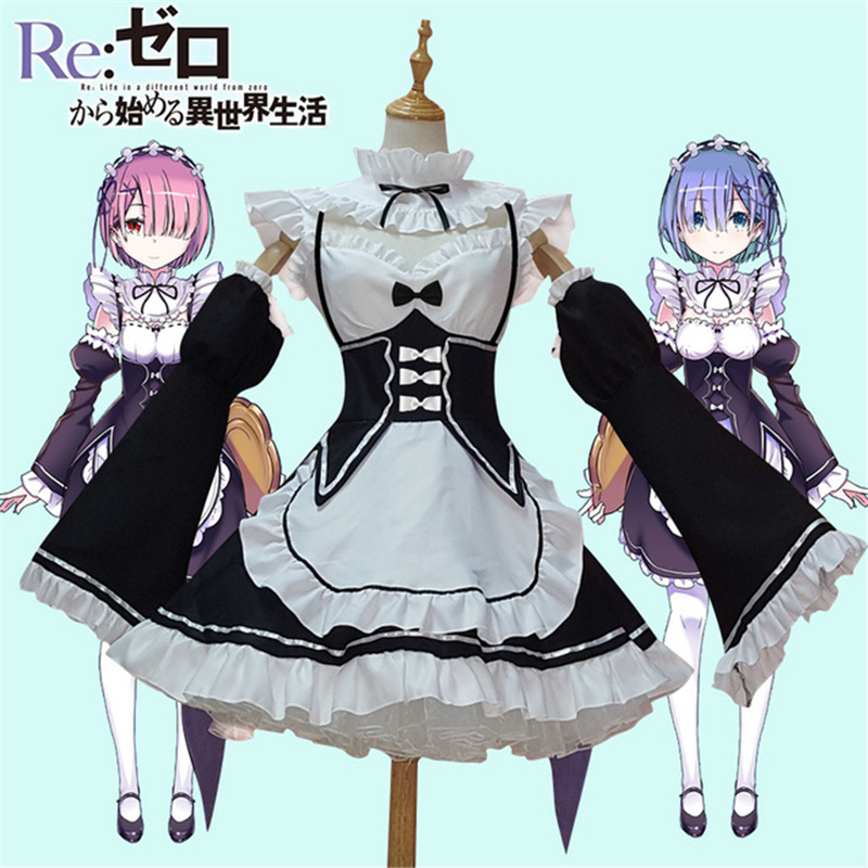 High quality Re Zero Starting Life in Another World Ram & Rem Cosplay Costume Japanese Maid Uniform Halloween dress