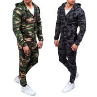 ZOGAA 2018 Men's Suits Hoodies and Pants Sets Young Fashion Camouflage Hooded Large Size Sweater