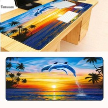 Yuzuoan 900*400*5 Cute Dolphins Animal Mousepad Computer PC Loptop Optical Gaming Mice Mat Rubber Rectangle Lock Edge Mouse Pad