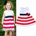 2016 девушки летнее платье мода красный белый полосатый одеваются прекрасные девочки рукавов платье принцессы девушка одежда рождения платье