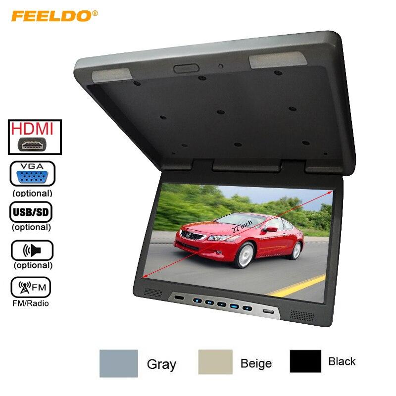22 pouces Bus voiture rabattable TFT LCD écran plafond toit monté HD moniteur aérien avec émetteur IR/HDMI/VGA/MP5/FM/haut-parleur