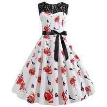 21d364df6a950 Feitong Women Vintage 1960s Party Dress Retro Sleeveless Lace Splice  Printing Belts Rockabilly Swing Dresses Vestidos