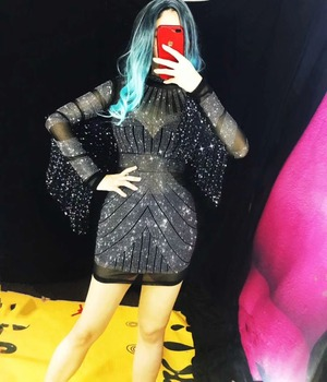 Fashion Black Mesh See Through Costume Female Performance Fringe Sleeves Perspective Dress Women Singer Stage Show Wear