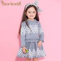 Bear Leader Girls Skirt Sets 2017 New Autumn Winter Geometric Pattern Long Sleeve Sweater Skirt 2pcs