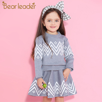 Bear Leader Girls Skirt Sets 2017 New Autumn Winter Geometric Pattern Long Sleeve Sweater Skirt 2pcs