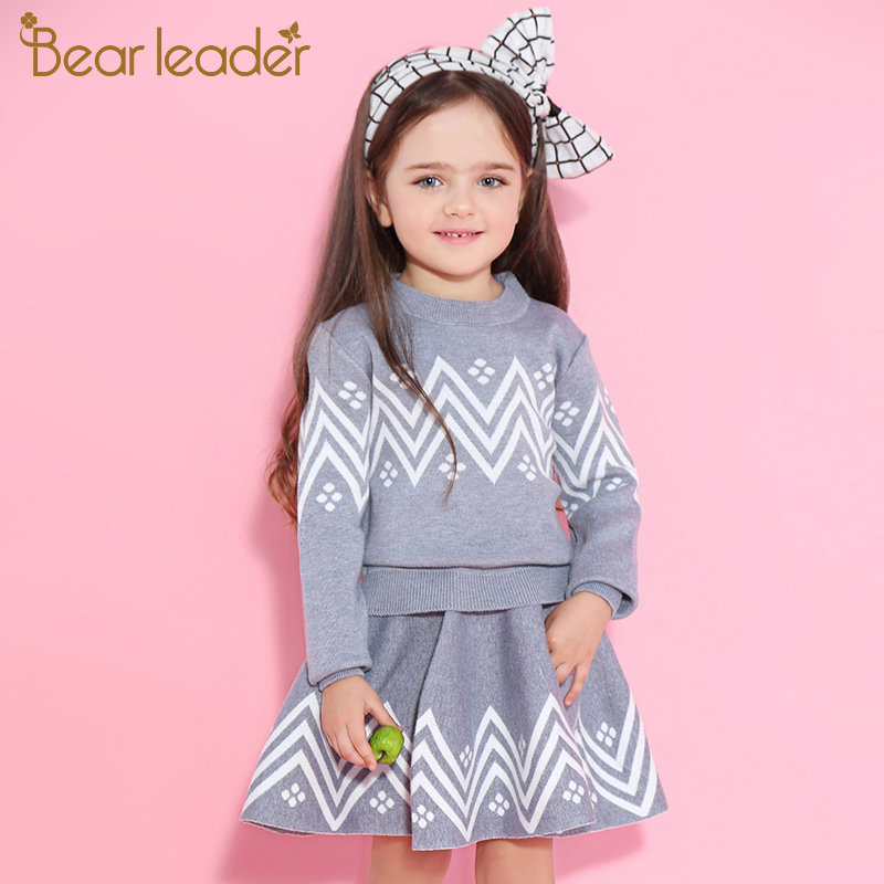 Bear Leader Girls Skirt Sets 2018 New Autumn&Winter Geometric Pattern Long Sleeve Sweater+Skirt 2pcs Knitwear Sets For 3-7 Years dabuwawa 2017 vintage plaid vest skirt natural waisted elegant pencil button skirt autumn winter jumper skirt d17ddx018