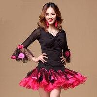 Latin dance performance suit autumn new large size female blouse skirt dance-do720