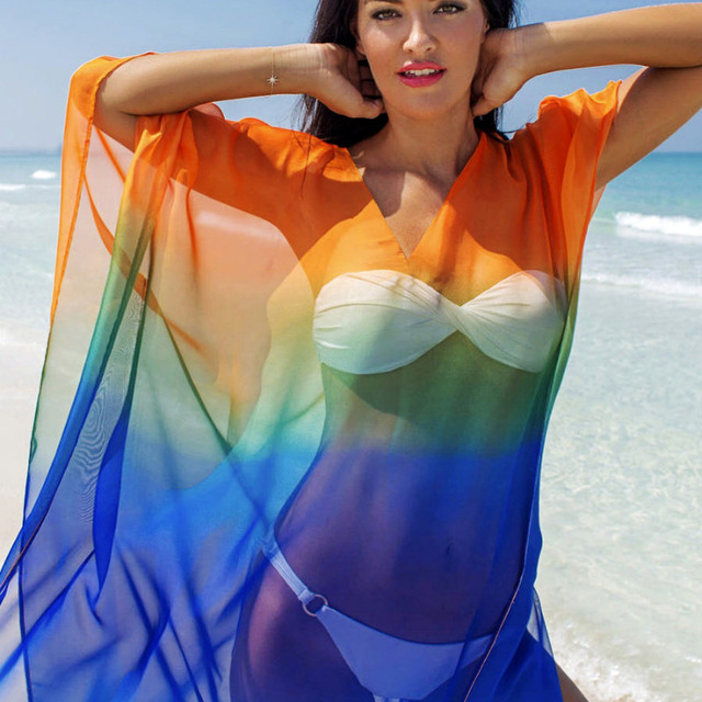 FORERUN verano playa cubierta Ups Arco Iris chifón suelta traje de baño mujeres Long Beach Tunics
