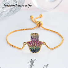 Fashion Turkish Fatima Hamsa Hand Colorlful Zircon Bracelet For Women Adjustable 24K Gold Chain Copper Bracelets Jewelry LB0056