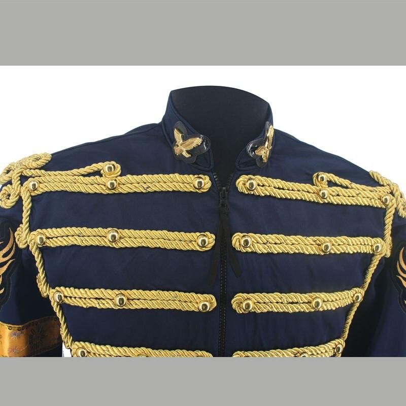 Редкая Мода ретро панк MJ Майкл Джексон Темно синяя Военная армейская королевская ретро Англия Стиль Мужская Threading куртка 1980с - 3