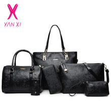 Embossed 6 Piece Set Hot PU Leather Women Bags Floral Printing 5 Pcs Set Women Handbags Purse Cultch Composite Messenger Bags(China)
