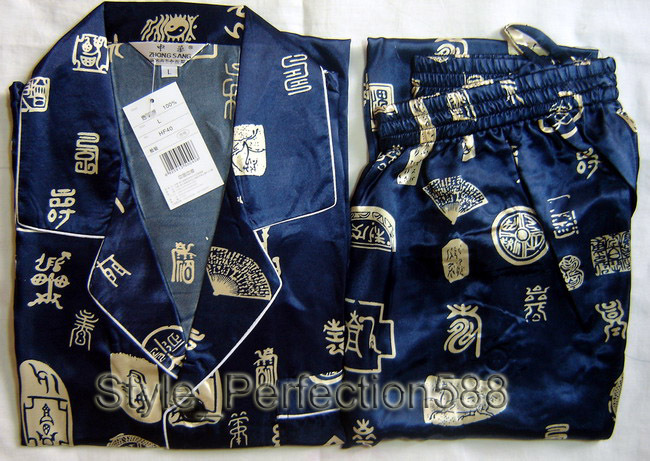 Free Shipping ! Navy Blue Men's Polyester Satin Robe Pajama Sets Sleepwear Nightwear SIZE S M L XL XXL XXXL ZT-3
