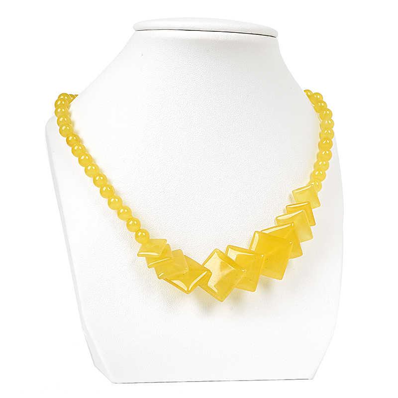 สีเหลืองบริสุทธิ์ candy และแวววาวและโปร่งแสงรอบ Topaz Jasper สร้อยคอสามารถ given to dance