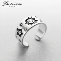 925 Sterling Silver Fashion Sun Moon Star Tribal Ring Women Chunky Ring Jewelry Adjustable