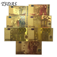 Full Set 24K Gold Banknote Euro 5-500 Foil 7pcs/lot as Business Collection Gifts