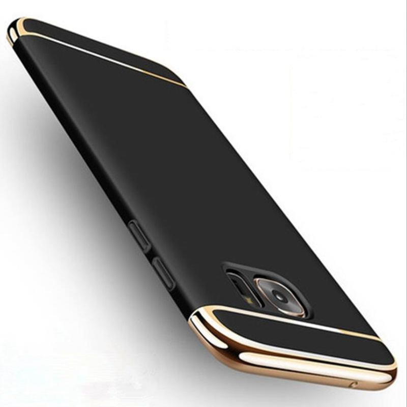 S7 Edge s8 Case for Samsung Galaxy S7 Edge Cases Slim Thin Luxury for Galaxy s8 Plus Hard Back Full Phone Cover Black Gold 3in1