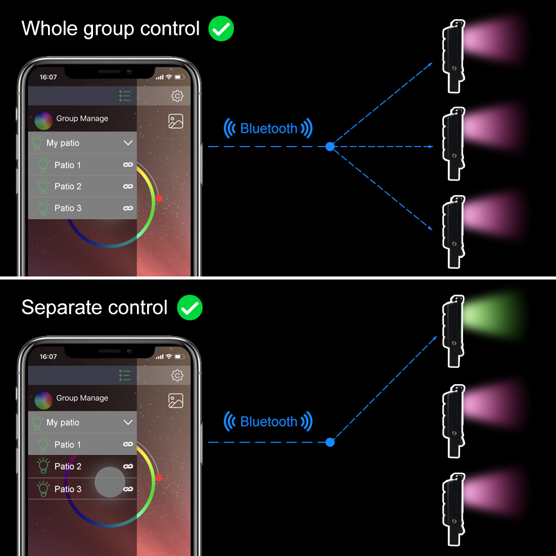Image 3 - RGB LED Floodlight 15W Bluetooth4.0 APP Group Control Outdoor Smart Flood Light IP66 Waterproof Garden Color Changing Spotlight-in Floodlights from Lights & Lighting