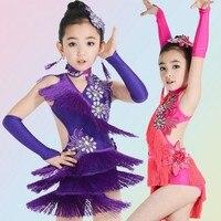 Children S Latin Dance Costumes Tassel Children Latin Dance Dress Girls Competition Clothing Latin Dance Dress