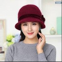 Hot Sell Winter Women Knitted Floral Skullies Super Soft Wool Mix Rabbit Fur Hat Warm Beanies