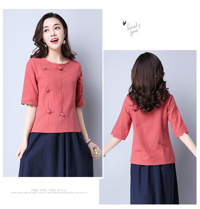 Cotton 2018 Summer Half Sleeve Loose Lady Vintage Women Shirt O Neck Chinese Style Linen T-Shirt Button 3XL 7