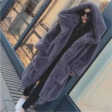 Harajuku Large size Faux Rabbit hair fur Coat Women Winter Thicken Warm Hooded Jackets Female Loose Outerwear Long Basic Coats(China)