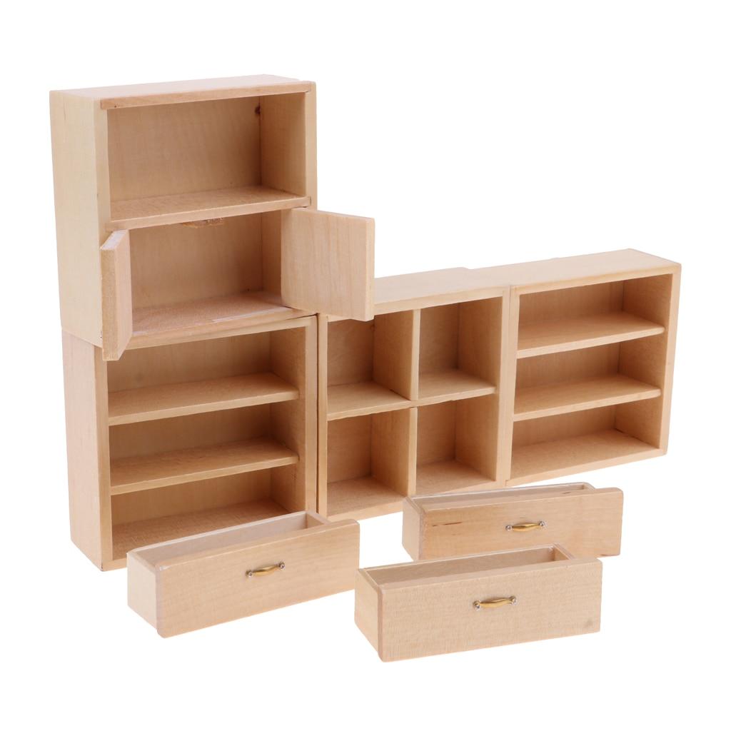 1/12 Dollhouse Miniature Furniture Unpainted Bookshelf Cabinet End Table Set for Living Room Study Room Decor
