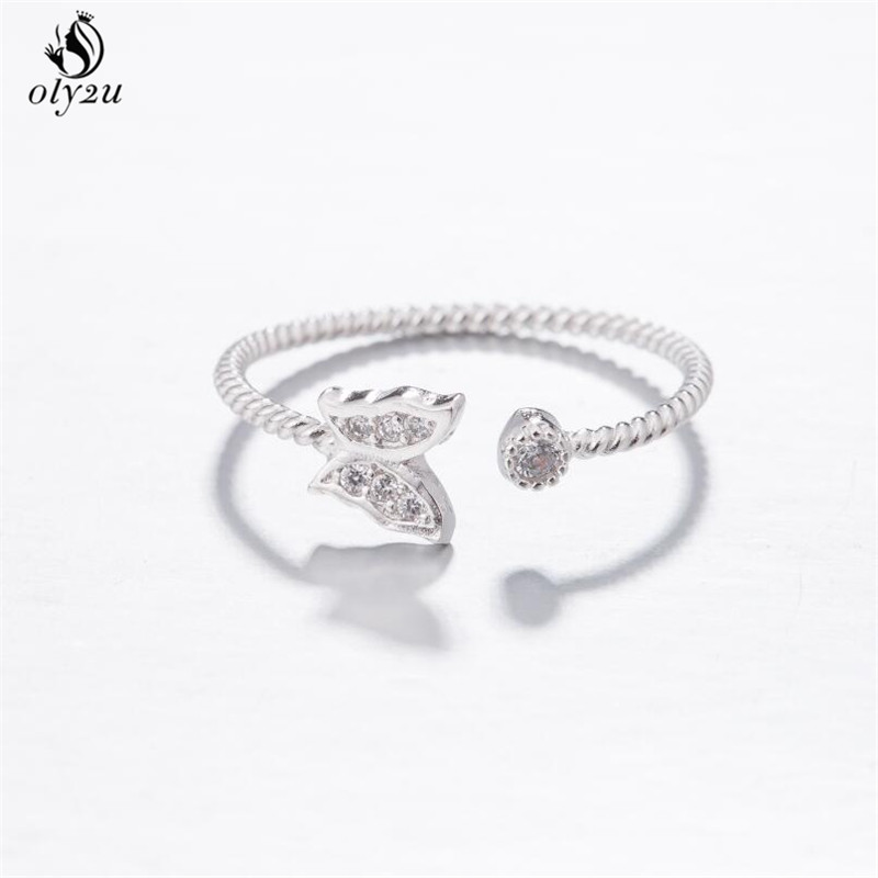 Oly2u Romantic Wedding Accessories Rose Color Austrian Crystal CZ Butterfly Rings Women Engagement punk Jewelry Gift