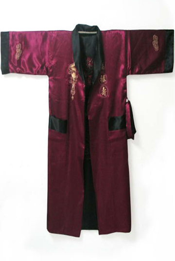 Estilo chinês reversível homens Satin borde Robe Kimono vestido banho pijamas com dragão YF1187