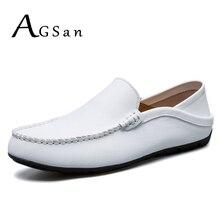 Agsan Мужчины Сплит кожа Мокасины белый коричневый и жёлтый цвета обувь для вождения мужские без шнуровки Мокасины Лодка обуви Большие размеры 10.5 10 9.5 46 45