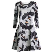 Fast Sending Hot Girl Women Long Sleeve Skull Bat Halloween Evening Party Prom Costume Swing Dress Party Prop Drop Shipping c816(China)
