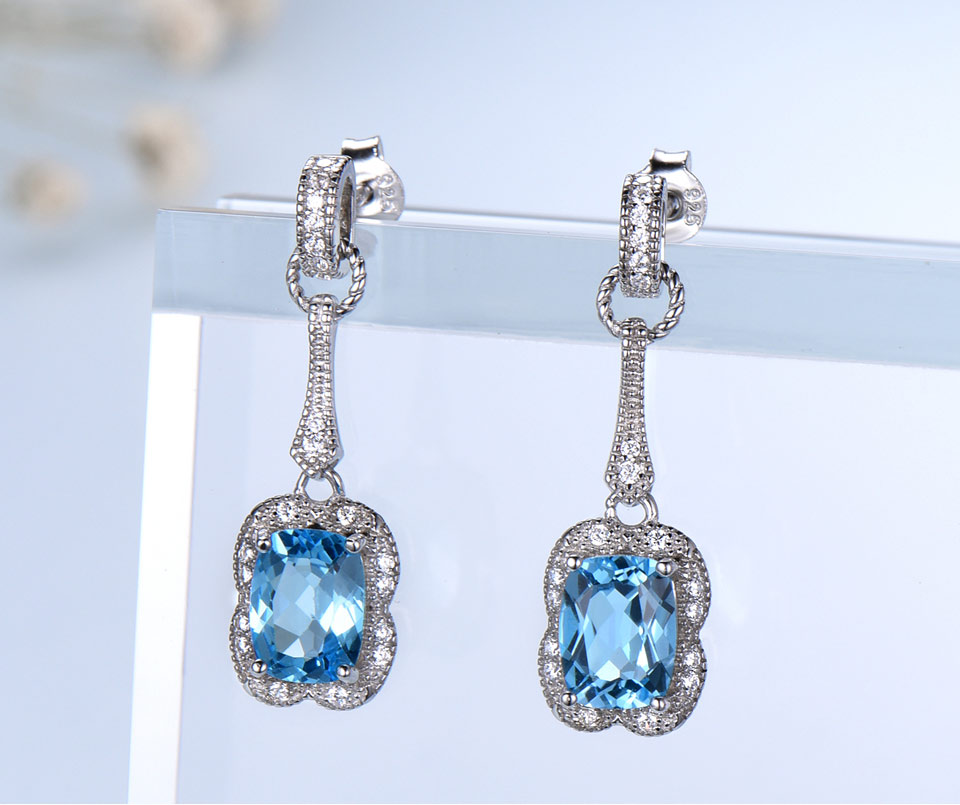 UMCHO swiss blue topaz earrings for women fashion (2)