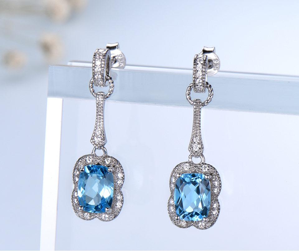 Honyy swiss blue topaz earrings for women fashion (2)