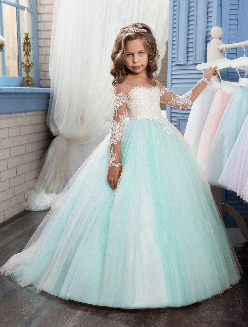 Elegant Tulle Sheer Neck Lace Long   Flower     Girl     Dresses   2019 Full Sleeve   Girls   First Communion Gowns Special Occasion   Dresses