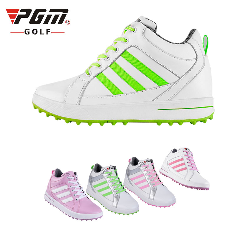 Brand PGM Adult Ladies Women Genuine Leather High Heel Golf Sports Shoes Light & Steady & Breathable &Waterproof. shoes bag free pgm genuine golf standard durable bag waterproof lady golf capacity standard ball bag embroidered package contain full set club